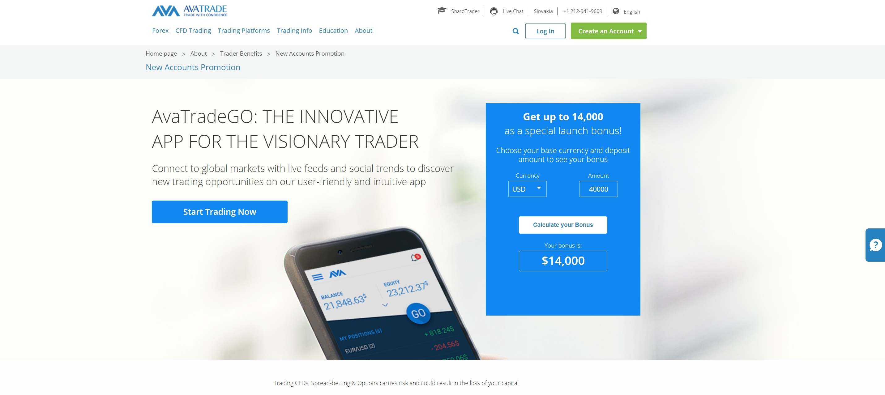 AvaTrade Homepage 2018